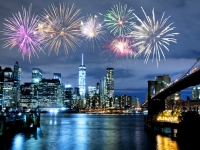 Fireworks over New York City skyline and Brooklyn Bridge, katy_89