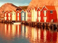 Fischerhütten in der Bucht von Smögen, Foto: Sebastian Lineros/imagebank.sweden.se