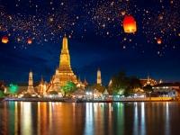 Wat arun with krathong lantern, Bangkok Thailand, Patrick Foto
