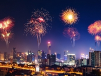 Happy new year firework with Bandkok cityscape at night, geargodz