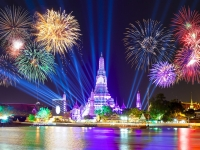 Happy new year 2016,Countdown 2016 at Wat ArunTemple,Fireworks,Wat Arun at a light,Bangkok,Thailand, funfunphoto