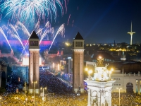 New Year night at  Placa Espana in Barcelona, JackF