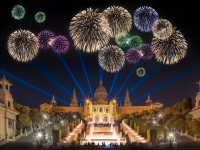 Beautiful fireworks under Magic Fountain in Barcelona,  boule1301