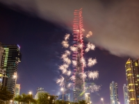 Fireworks from Burj Khalifa on New Year's Eve 2016, Dubai,  Leonid Andronov