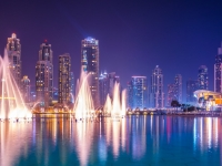 The Burj Khalifa lake with dancing fountain of Dubai, UAE,  dudlajzov