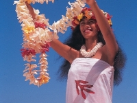 Vahine Welcoming Visitors with Leis, Photos courtesy of Tahiti Tourisme